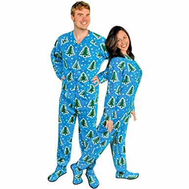 adult footed pajamas with butt flap christmas trees and snow