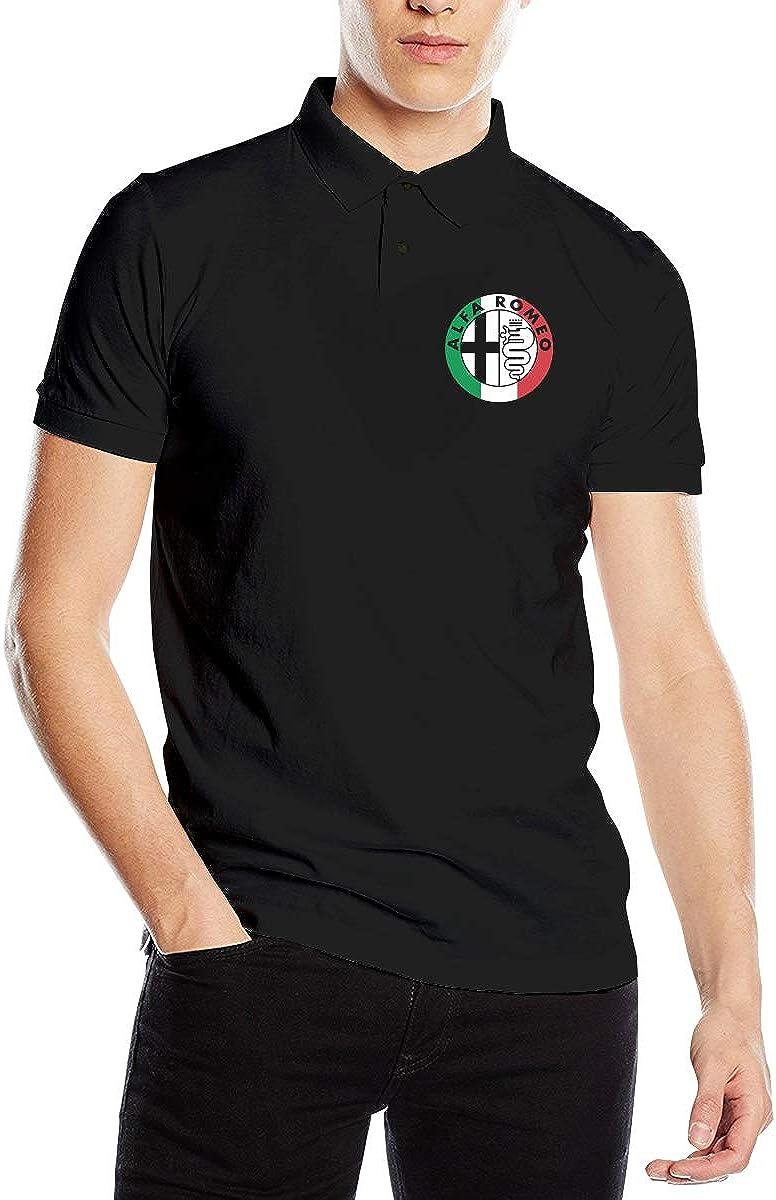Alfa Romeo Italy Flag Men's Perfect Slim Fit Short Sleeve Polo Shirt Tee