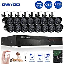 OWSOO 16CH CIF Video Security System HDMI P2P Cloud Network DVR with 1TB Hard Drive & 16 Indoor/Outdoor Infrared Cameras, IR-CUT Night Version Motion Detection Email Alarm Support