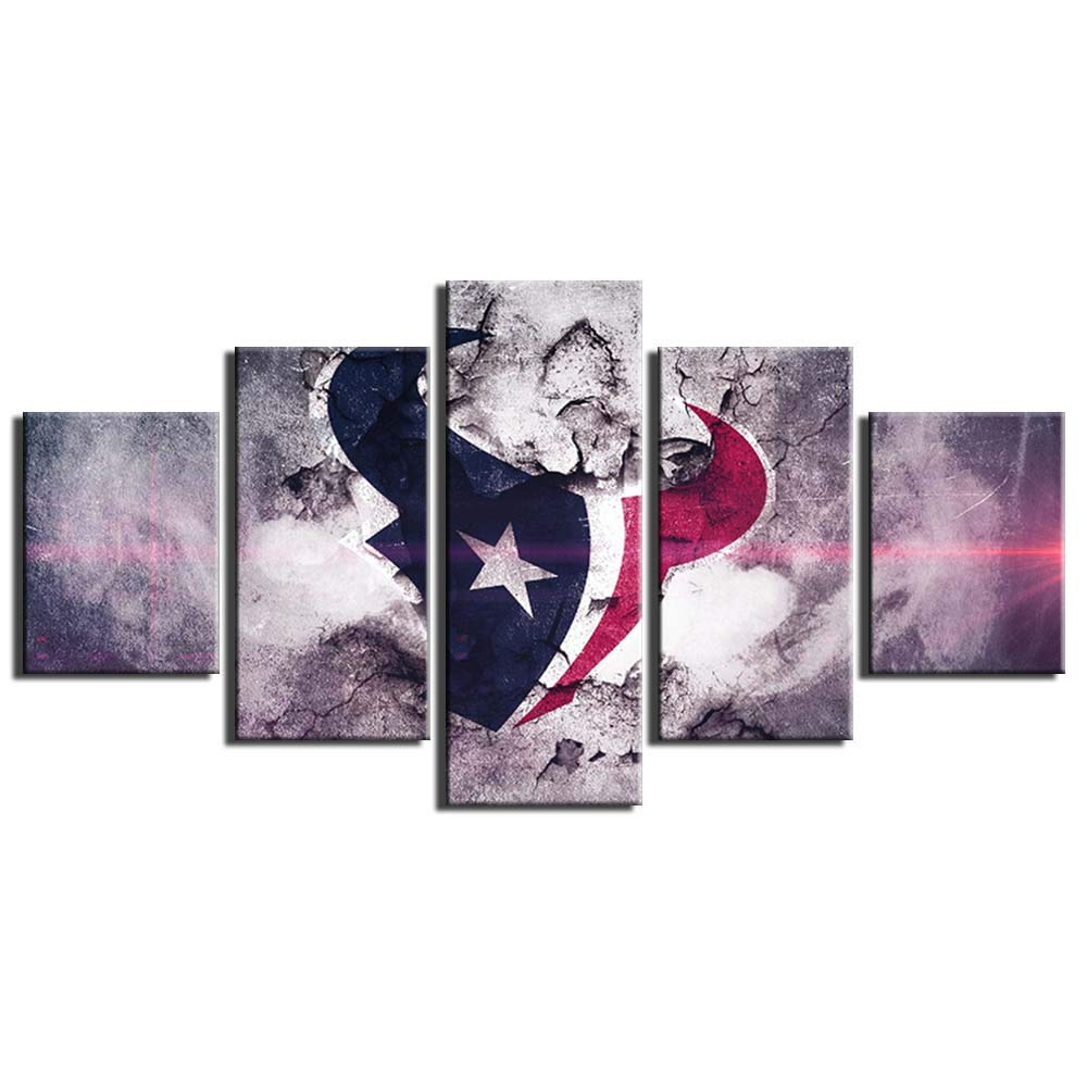 Houston Texans NFL Poster Wall Decor for Home Painting 5 Piece Canvas Prints Wall Art Picture Modern Decoration for Bedroom Poster with Frame Ready to Hang(60''Wx32''H)