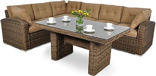 JUSThome Malibu Conjunto de muebles de jardín 1x Sofá-banco esquinero + 1x Mesa Marrón: Amazon.es: Hogar