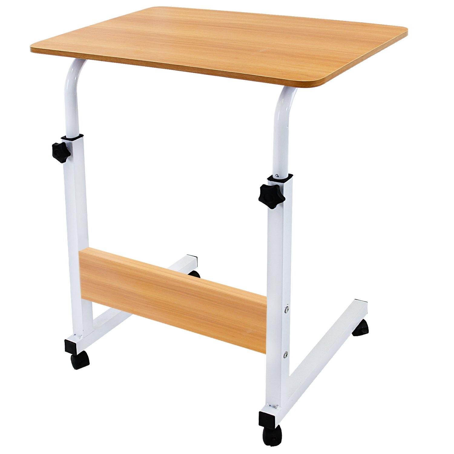 DL furniture - Adjustable Height Laptop Desktop Table Stand, Over Bed Side Table with Wheels   Natural Wood with Natural Wood Support