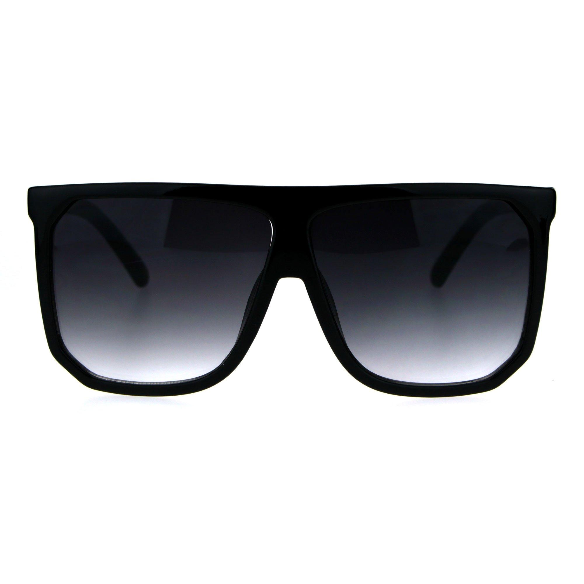 Oversize Style Sunglasses Flat Top Square Modern Fashion UV400 Shiny/Matte Black