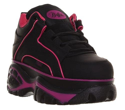 Buffalo - Zapatillas de cuero para mujer, color negro, talla 46 EU: Amazon.es: Zapatos y complementos