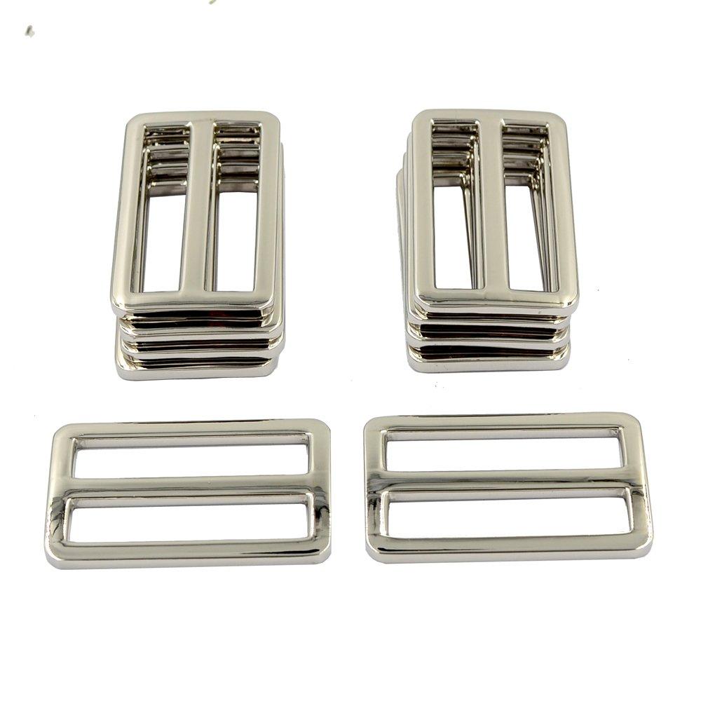 DGOL 10pcs 1-1/2 Slider Webbing Strap Tri Glide Buckles Zinc Alloy Tri-Glide Slide Buttons Fasteners (Silver) DGOL-AT34-SL