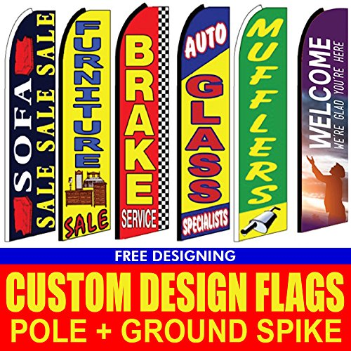 (UNIQ SIGNS 15' double sided Full Color Custom Tall Swooper Advertising Flag Feather Banner +Pole &)