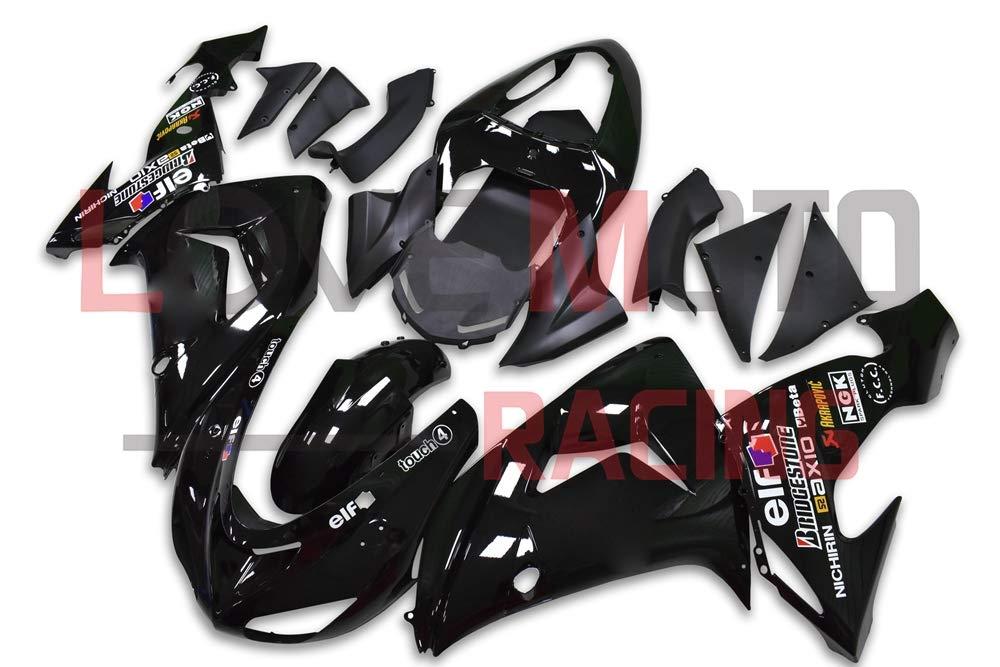LoveMoto ブルー/イエローフェアリング カワサキ kawasaki ZX-10R ZX10R Ninja 2006 2007 06 07 ZX 10R ABS射出成型プラスチックオートバイフェアリングセットのキット ブラック   B07KQ4PPRF