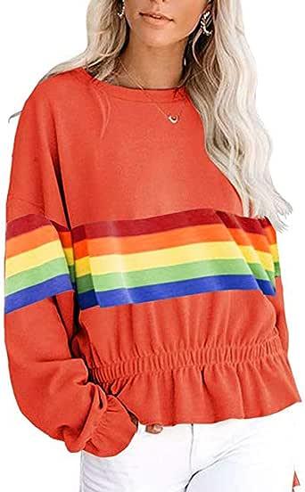 AKIMPE Womens Sweatshirt Warm Utility Pullover Rainbow Ruffle Lightweight Breathable Coat Outdoor Jacket
