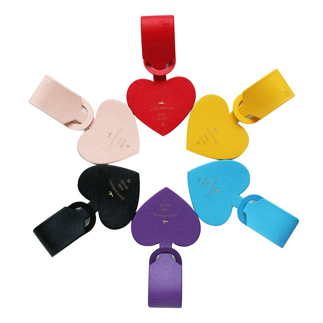 Monique 6PCS Heart Shape Luggage Tags Plastic Cruise Tags Travel ID Bag Tags Window Name Tags Business Card Holder