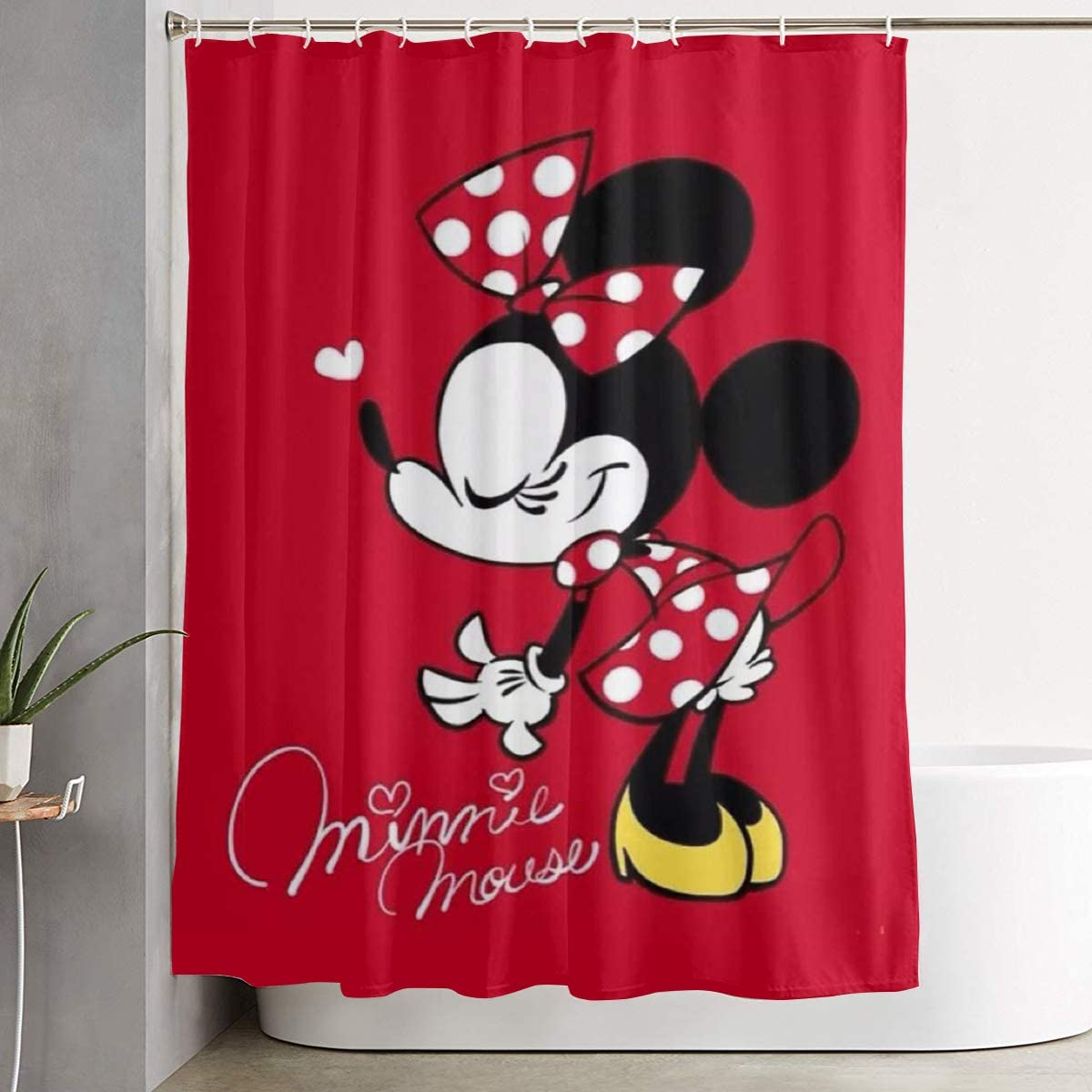 LIUYAN Shower Curtain with Hook - Beautiful Minnie Mouse Waterproof Polyester Fabric Bathroom Decor 60 X 72 Inches