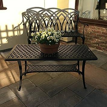 Lazy Susan - Mesa de centro rectangular de jardín CLAIRE y banco ...