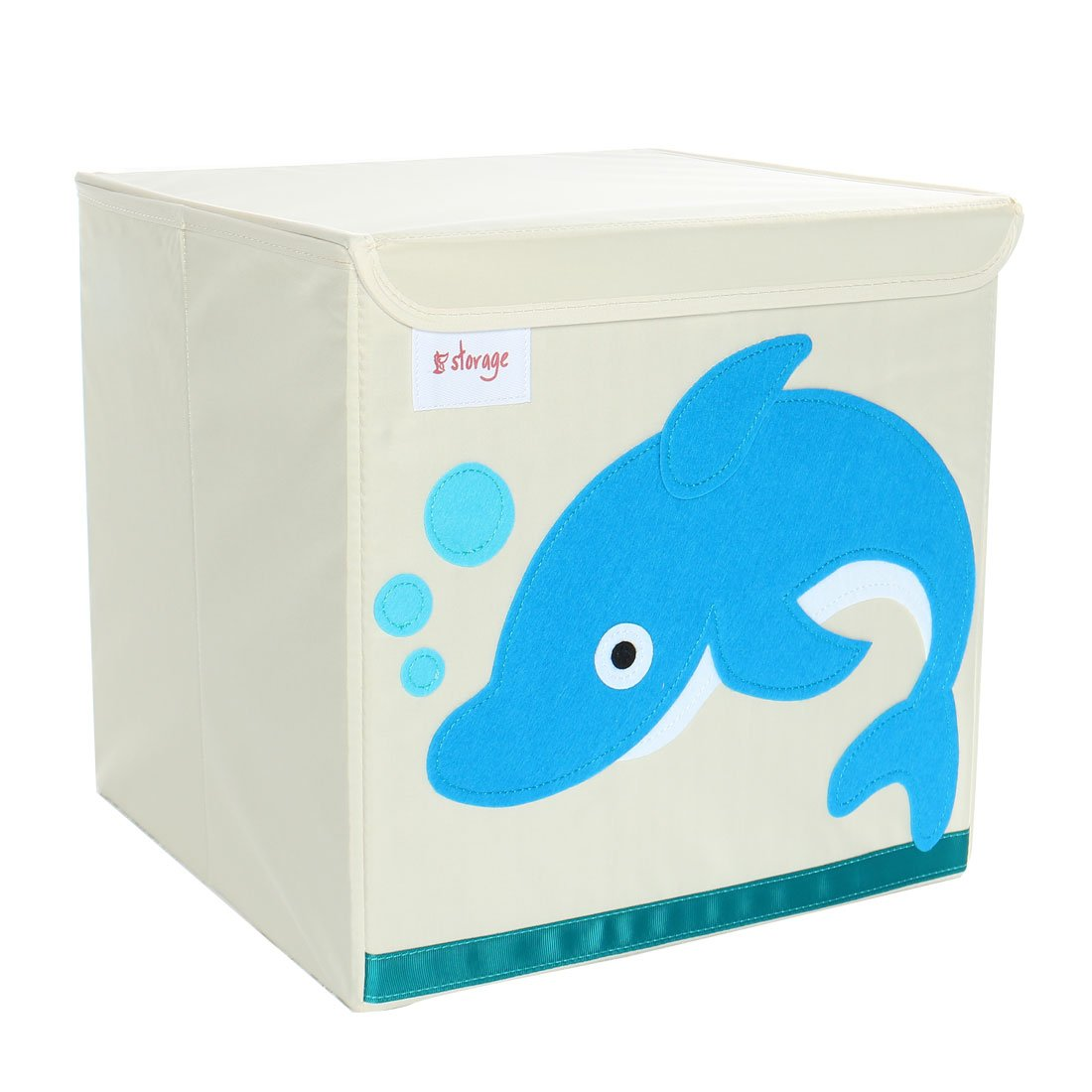 PiccoCasa Foldable Toy Storage Bins Square Cartoon Animal Nonwovens Storage Box Eco-Friendly Fabric Storage Cubes Organizer for Bedroom Playroom Lid Blue Dolphin Pattern 13''x13''x13.6''