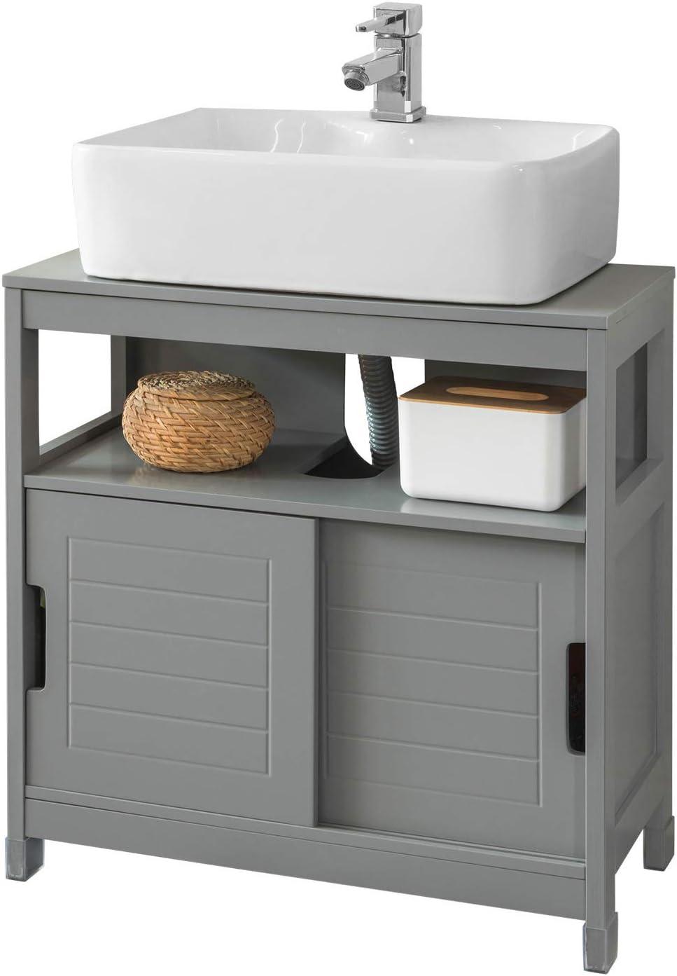 SoBuy FRG128-SG Mueble para Debajo del Lavabo Armario de Baño de Suelo 1 Estante y 2 Puertas Correderas 60 * 30 * 61 cm ES: Amazon.es: Hogar