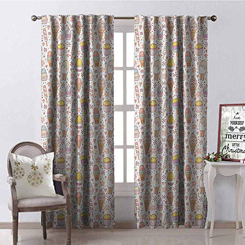 Gloria Johnson Ice Cream Shading Insulated Curtain Cute Candies and Yummy Heart Figures Summer Flower Color Dots Kids Design Soundproof Shade W52 x L72 Inch Peach Coral Mint