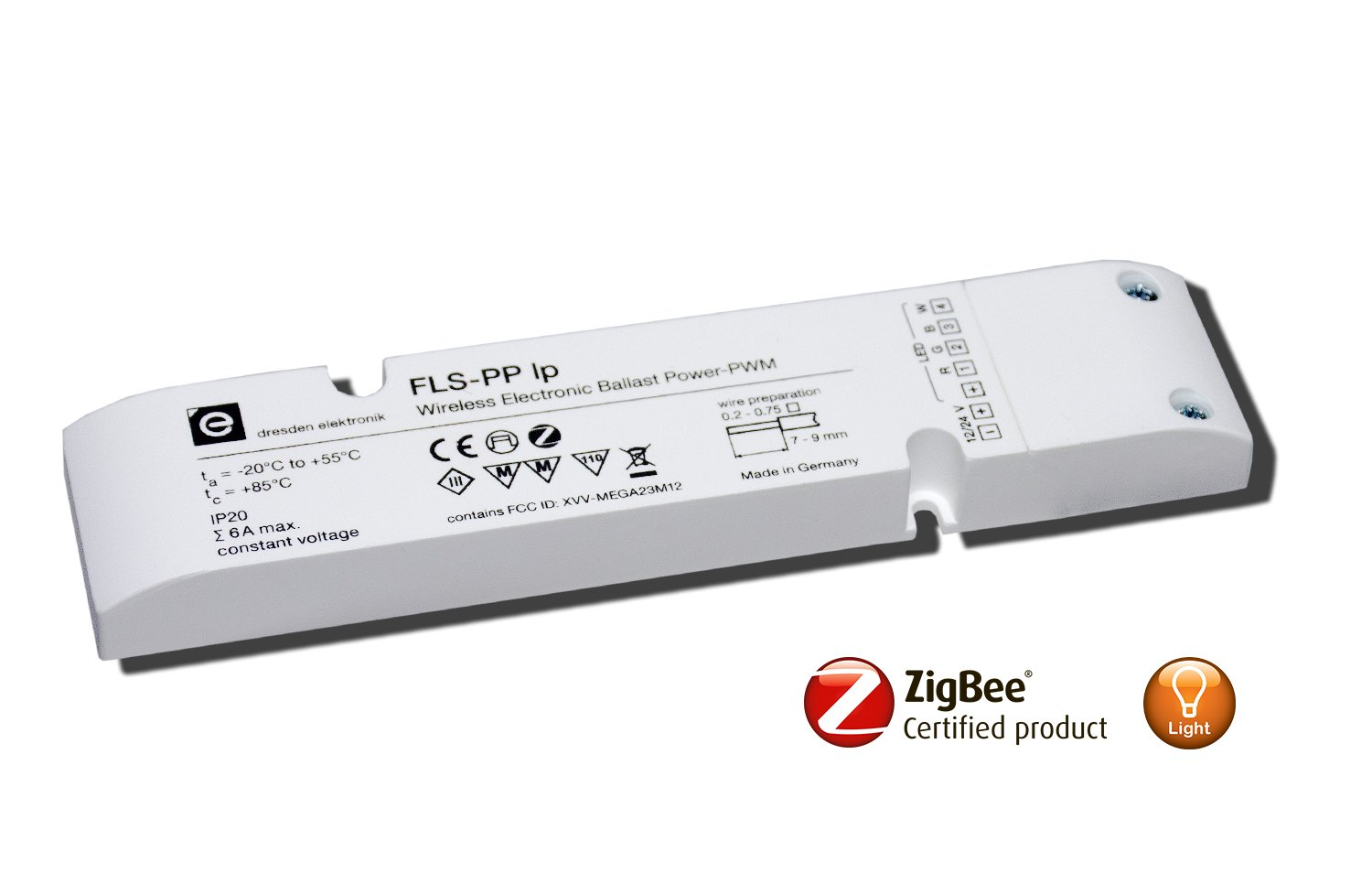 Wireless electronic ballast FLS-PP lp with Power PWM interface for RGBW and RGB lights (12/24V LED/LED stripes), ZigBee certified product