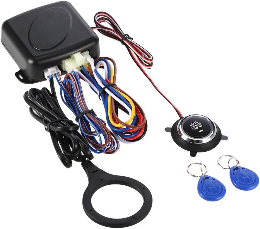 KKmoon Arrancador de Entrada sin Llave Botón de Arranque del Motor de Automóvil RFID Cerradura de Seguridad Interruptor de Encendido Sistema Antirrobo (Como A)