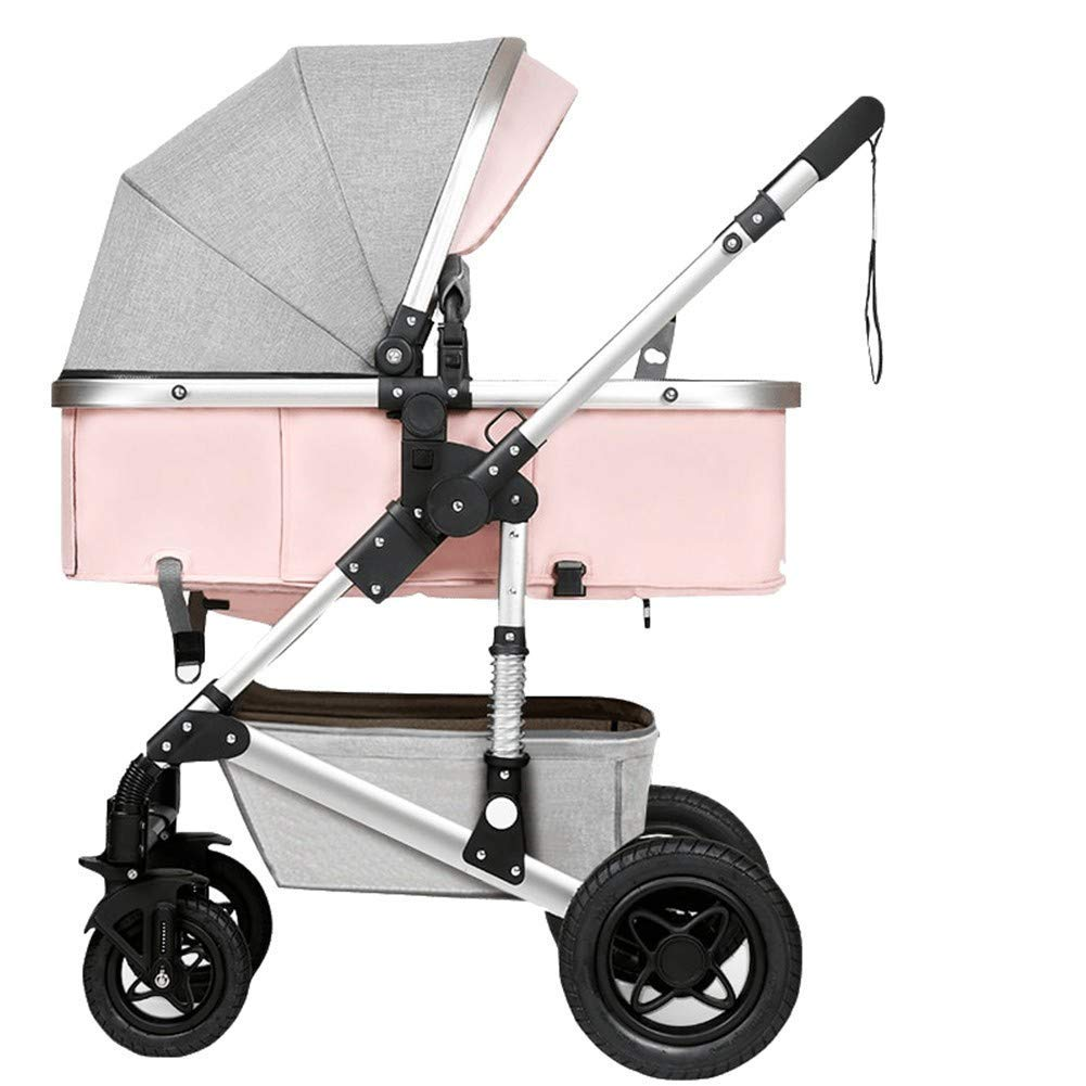 Strollers Two Way Toddlers Strollers Four Rounds Newborn Prams fold Baby Pushchairs Suitable for 0-3 Years Old with Cup Holder and Meal Plate,Can sit and Lie Down Standard