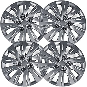 OxGord Hub-caps for 2016 Fiat 500 (Pack of 4) Wheel Covers 16 inch Snap On Silver