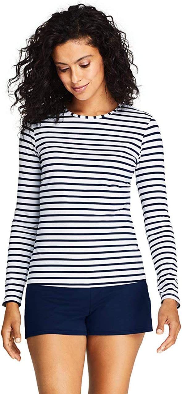 Lands End Womens Crew Neck Long Sleeve Rash Guard UPF 50 Sun Protection Modest Swim Tee