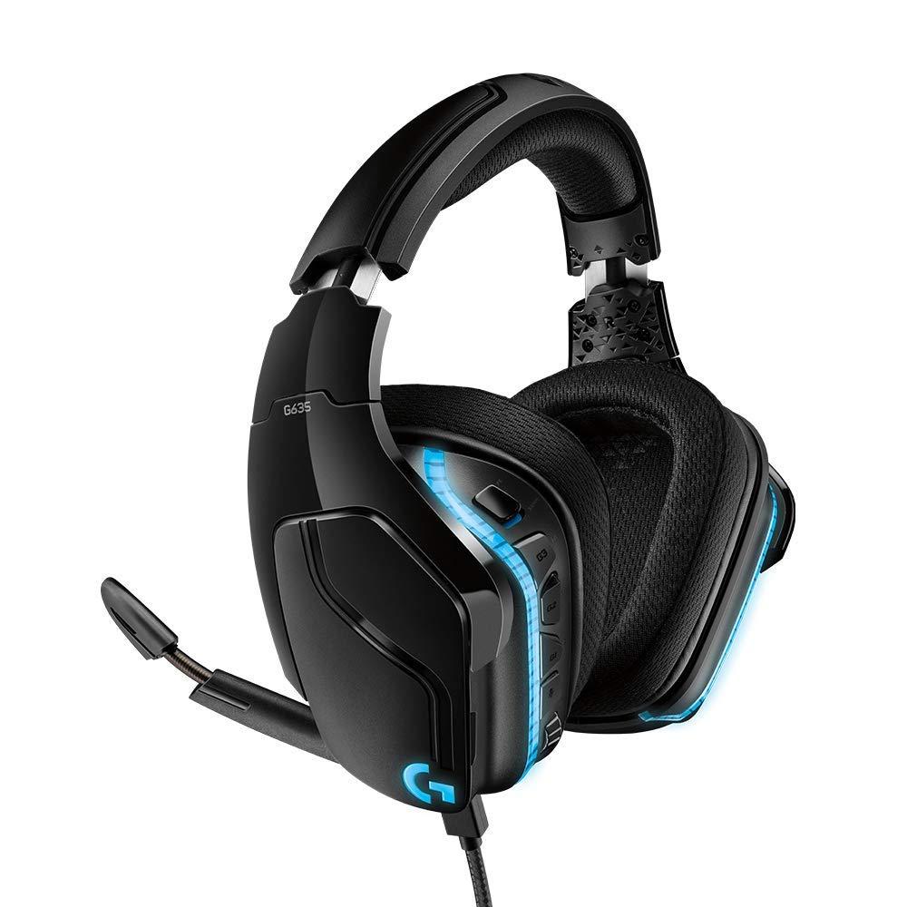 로지텍 G635 유선 게이밍 헤드셋 (71 채널 서라운드 사운드) Logitech G635 DTS:X 71 Surround Sound LIGHTSYNC RGB PC Gaming Headset
