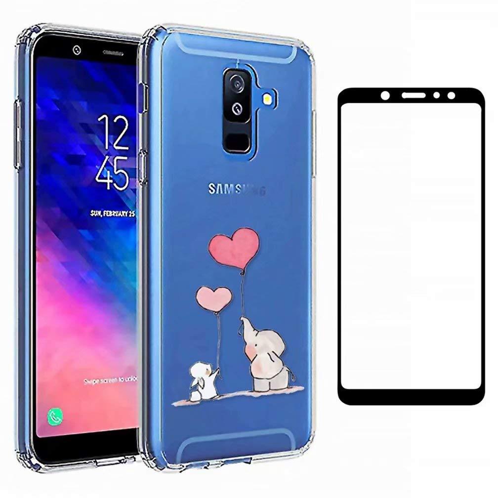 WYRHS Kompatibel mit Samsung Galaxy A7 2018 H/ülle TPU Silikon Weiche Transparente Cover+1* Geh/ärtetes Glas Sch/ützend Film Anti Scratch Schutzh/ülle-Brief