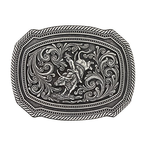 Montana Silversmiths Men's Silversmith Silver Bull Rider Belt Buckle Silver One (Bull Rider Border)