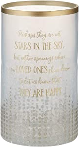 Pavilion - Gold Sparkly Polka Dot Large Crackled Clear Glass Jar Candle Hurricane - Perhaps They Are Not Stars In The Sky, 8 Inch