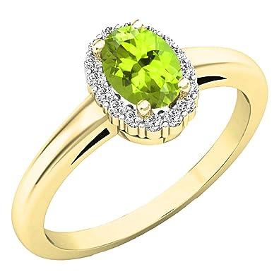 f8800a52901 10 K Or jaune ovale 6 x 4 mm pierre précieuse et diamant rond Blanc ...