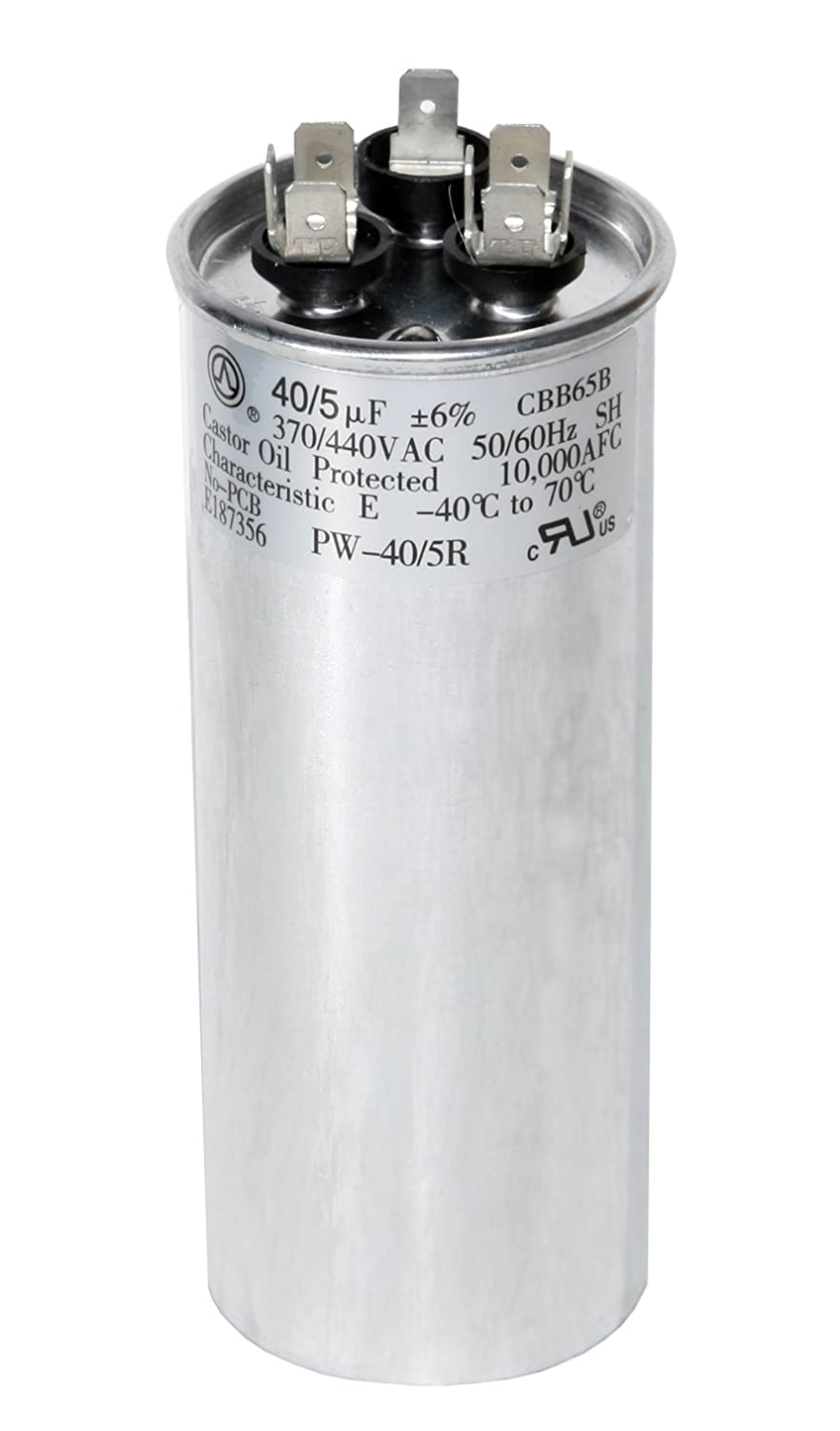PowerWell 40 + 5 MFD uf 370 VAC or 440 Volt Dual Run Round Capacitor  PW-40/5/R for Condenser Straight Cool or Heat Pump Air Conditioner 40/5  Micro