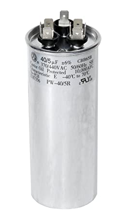 powerwell 40 + 5 mfd uf 370 vac or 440 volt dual run round capacitor