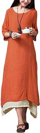 TALLA XL. Romacci Vestido Boho de Nueva Mujer Vintage Split Dobladillo Irregular Casual Boho Largo Flojo Vestido Largo de Color Naranja/Verde Militar/Café, S-5XL