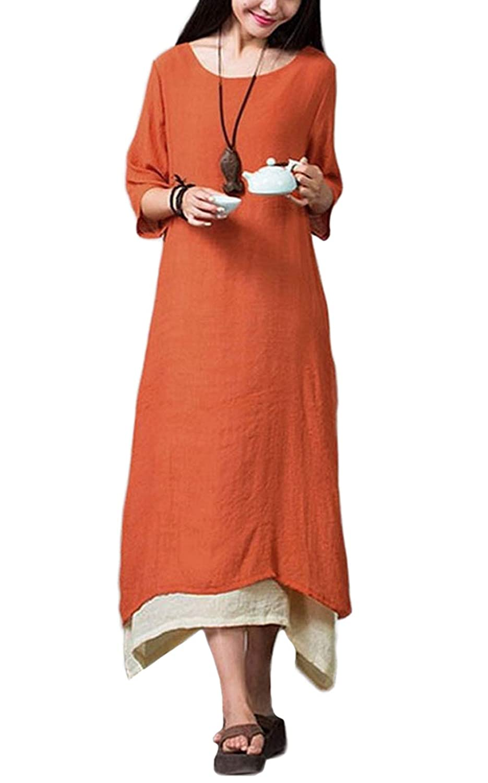 Romacci Vestido Boho de Nueva Mujer Vintage Split Dobladillo Irregular Casual Boho Largo Flojo Vestido Largo de Color Naranja/Verde Militar/Café, S-5XL