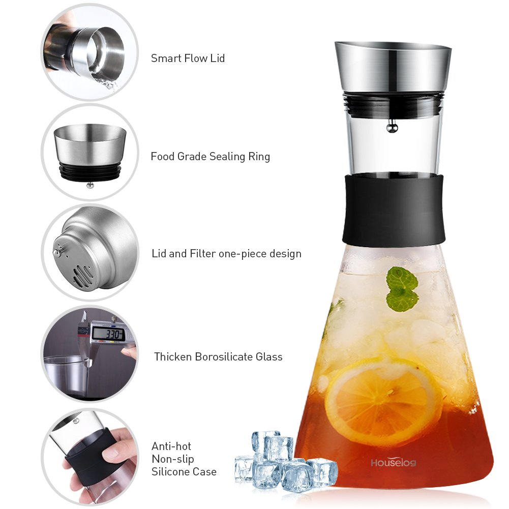 Borosilicate Glass Pitcher with Stainless Steel Flow Lid Hot/Cold Water Carafe Beverage Decanter for Juice Cold Brew Coffee Iced Tea 1.5 L/51 Oz-Bonus A Cleaning Brush