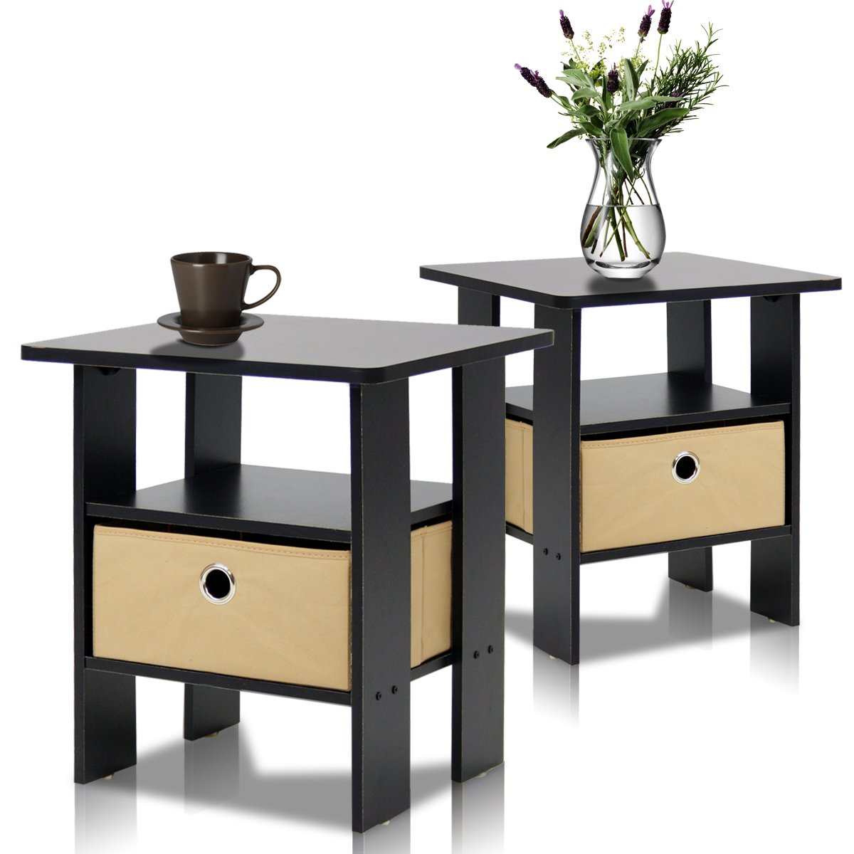Furinno 2-11157EX End Table Bedroom Night Stand, Petite, Espresso, Set of 2 by Furinno