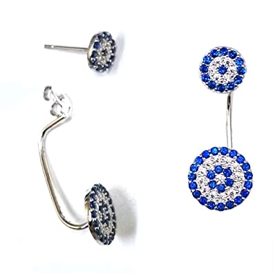 04bacdacf Image Unavailable. Image not available for. Color: 925 Solid Sterling Silver  Dangling CZ Double Circle Evil Eye Stud Earrings - Blue Cubic Zirconia