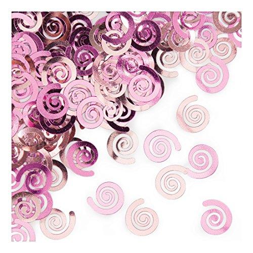 Creative Converting 21084 Metallic Confetti Swirls, Classic Pink
