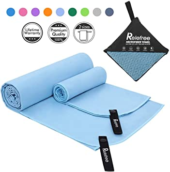 Relefree Microfiber Towel, Sports & Travel Towel - Fast Drying, Super Ultra Absorbent, and Compact Suitable for Camping, Beach, Gym, Swimming, ...