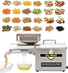 CGOLDENWALL Automatic Oil Press Machine Home Hot/Cold Oil Extraction All Stainless Steel Oil Presser Extractor Machine for Peanut Nuts Walnut Soybean Castor Cannabis Coconut Sesame Rapeseed Sunflower Seed CE Approved (110V US Plug)