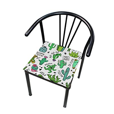 "Bardic HNTGHX Outdoor/Indoor Chair Cushion Cute Plant Cactus Square Memory Foam Seat Pads Cushion for Patio Dining, 16"" x 16"": Home & Kitchen"