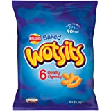 Walkers Baked Wotsits 6 Really Cheesy Flavour Corn Puff Snacks, 6 x 16.5g
