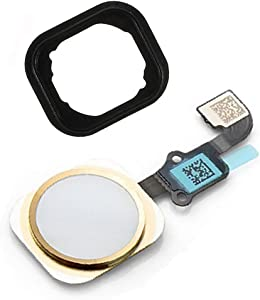 Johncase OEM Home Button Flex Ribbon Cable Assembly w/Rubber Gasket Replacement Part Compatible for iPhone 6/6 Plus (Gold)