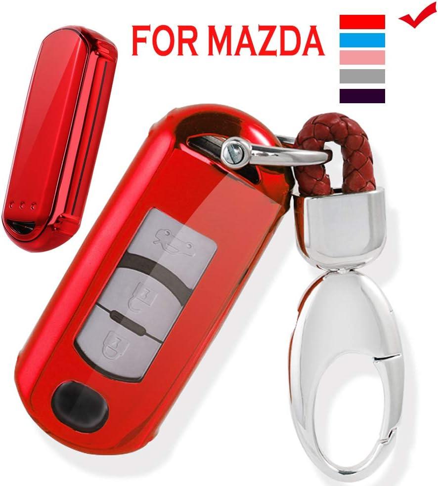 Vorda Mazda Key Fob Cover,Fit for 2//3//4 Bottons Remote Key Mazda 2 3 5 6 8 CX3 CX5 CX7 CX9 MX5 Key Fob,Smart Car Key Soft TPU Case Shell Protector Key Fob with Alloy Keychain Black