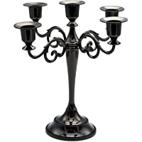 Honysky 5-Candle Metal Candelabra Candlestick Holders 10.6 inch Tall Candle Holder Wedding Event Candelabra Candle Stand (Black Candelabra)