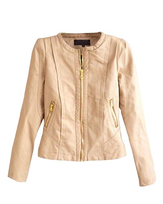 DianShao Mujeres Vendimia Chaquetas De Cuero PU Abrigo Cuello Redondo Biker  Jacket Caqui XL  Amazon.es  Ropa y accesorios 483c664b447f