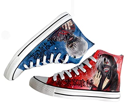 Tokyo Ghoul Ken Kaneki Cosplay Canvas Shoes Hand-painted Shoes Sneakers Red and Blue