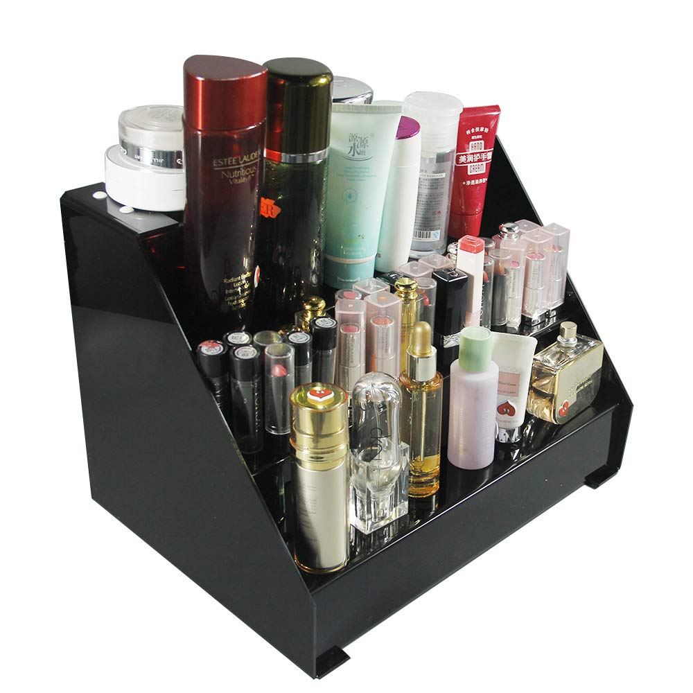 AiLa Acrylic Large Makeup Organizer Holder Cosmetic Storage Box Display Stand Great for Bathroom,Dresser,Vanity Tray and Countertop (Black)