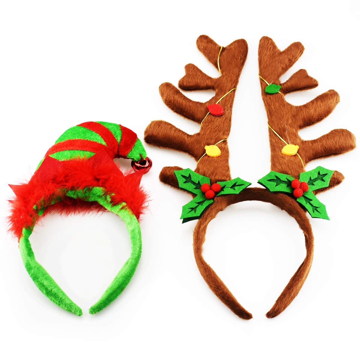 (Confezione da 2) Fianchi renna Fasce Elfo Fasce natalizie e pasquali (verde e marrone scuro) EVINIS