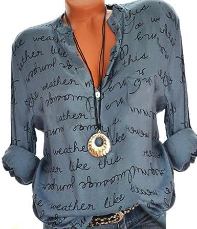 Belasdla Mujer Elegante Camisa Letra Impresa Camisa Superior Gasa Vaquera Camiseta De Mujer: Amazon.es: Ropa y accesorios