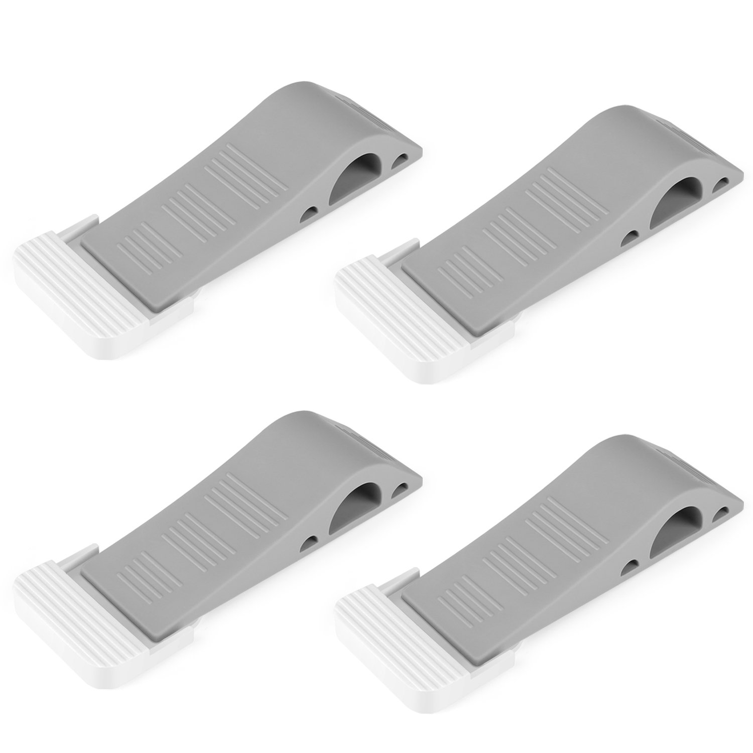 Door Stopper - Multi Surface Door Stop Wedge with Heavy Duty Design - Tall and Adjustable, Solid Stable Base, Flexible and Non Scratching Door Holder(4Pack - Gray) (4Pack-Gray) SANTIAOTUI