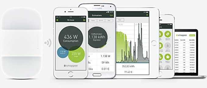 Smappee Energy-Monitor T-Eu1 Sistema de Seguimiento Consumo eléctrico/electrodomésticos de Casa Desde móvil o Tablet - Blanco